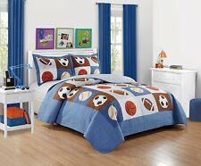 Twin Full Blue White Baseball Soccer Sports 3 pc Quilt Set Coverlet Bedspread
