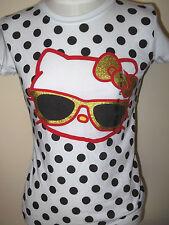 New HELLO KITTY Girl's Kid's T-shirt TEE  White Glasses XL Glitter