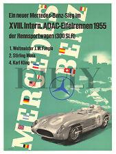 PLAQUE ALU DECO AFFICHE MERCEDES BENZ 300 SLR 1955 FANGIO MOSS