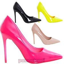 Scarpe donna decolletes decoltè tacchi alti punta vernice lucide nuove ID98273-3