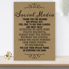 Wedding No Photos On Social Media Sign Poster Poem Vintage BUY 2 GET 1 FREE B10
