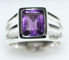 Genuina Amatista Anillo De Plata Esterlina púrpura piedras preciosas 925, talla N, 6 ½ A Z +5, 15
