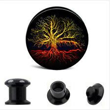 PAIR TWISTED TREE of LIFE Acrylic Ear Gauges Ear Plugs Flesh Tunnel SCREW 6g+