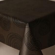 BLACK ROUND SWIRLS SHINY TEXTURED PVC OIL VINYL TABLE CLOTH PLAIN WIPE MODERN