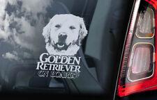 Golden Retriever on Board - Car Window Sticker - Gun Guide Dog Sign Decal - V08
