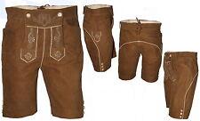 kurze sportliche Lederhose Trachtenlederhose mit Latz  Plattlerhose bestickt