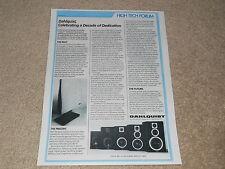 Dahlquist Speaker Ad, 1984, DQ-10, DQM Speaker Line, 1 pg, Articles, Info