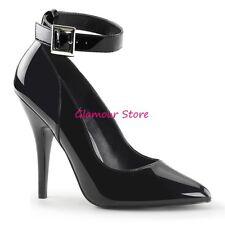 Sexy DECOLTE tacco 13 NERO LUCIDO dal 35 al 46 cinturino scarpe fashion GLAMOUR