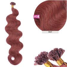 #14 Rot Keratin Bonding GEWELLT Hair Extensions 100% Remy Echthaar 1g Strähne