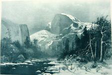 YOSEMITE PARK VALLEY in Winter Sierra Nevada Mountains, 1888 Landscape Art Print