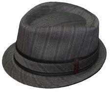 New! Men's Dickies Fedora Cap 50's Style Big Band Pinstripe Trilby Hat -S/M-L/XL