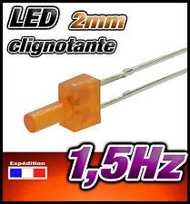 329O# LED 2mm clignotante orange diffusant  dispo 10, 25, ou 100pcs