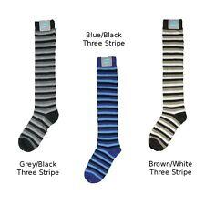 Ladies Cotton Knee-High Socks, Multi-Stripes, 1 pair, Choose Grey, Blue or Brown