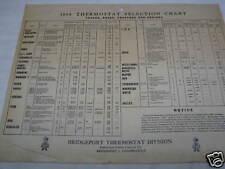 1954 Vintage Bridgeport Thermostat Chart for Trucks Buses Etc