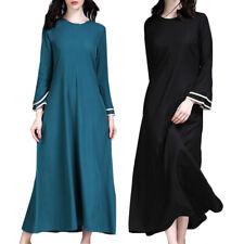 Muslim Women Robe Ramadan Dress Trumpet Sleeves Pakistan Ethnic Kaftan Abaya