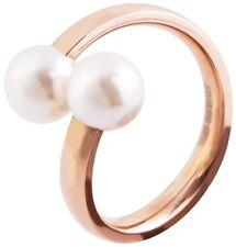 Edelstahl Ring Süßwasserperlen weiß Perlen Damen 2 er Perle Fingerring rosegold