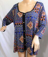Lavish Women Plus Size 1x Blue Rust Black Aztec Tunic Top Blouse Shirt