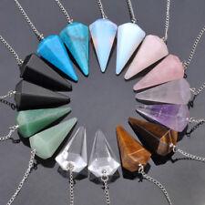 Chakra Crystal Quartz Gemstone Pendulum Healing Dowsing Reiki Pendant Chain Gift
