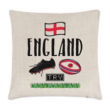 Rugby Inglaterra Lino Cubierta para Cojín Almohada-Gracioso Liga Unión Rose bandera Sport