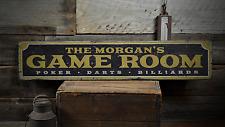 Family Game Room, Custom Name, Poker - Rustic Distressed Wood Sign ENS1001405