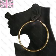 """4"""" HUGE HOOP EARRINGS 10cm plain smooth GOLD/GUNMETAL big chunky hoops metal"""