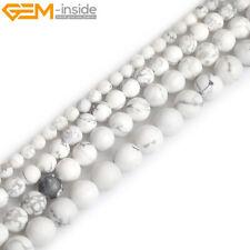 Natural White Howlite Jasper Stone Semi Precious Forested Matt Round Loose Beads