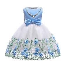Girls Princess Dress Mesh Embroidered Sleeveless Pearl Birthday Prom Party Dress