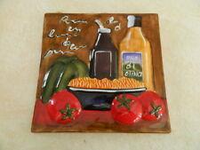Ceramic Kitchen Wall Tile Art * U Pick* Chef Oil Vinegar Tomatoes Carrots Pasta