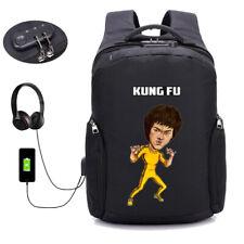 Bruce Lee backpack USB charging coded lock Men Laptop Bag