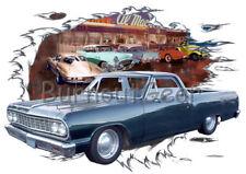 1964 Green Chevy El Camino Custom Hot Rod Diner T-Shirt 64 Muscle Car Tees