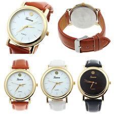 Ladies Fashion Geneva Gold White or Black Faced Leather Band Wrist Watch(Aussie)
