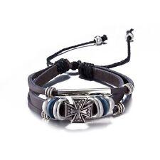 Damen Herren Vintage Leder Armband Wickelarmband Eisernes Kreuz Armschmuck Neu