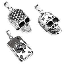 Anhänger Totenkopf Kette Skull Ace Dog Tag Edelstahl Biker Gothic Stars