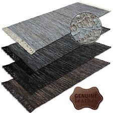 Lederteppich Teppich Handgefertigt 100% Leder Hochflor  Teppiche Baumwollrücken