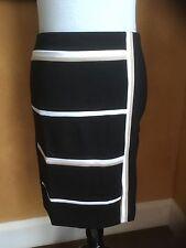 White House Black Market Petite Pieced Ponte Pencil Skirt Black White 6P To 14P