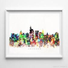 Jackson Mississippi Watercolor Skyline Wall Art Home Decor Poster UNFRAMED