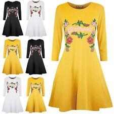 Womens Ladies Celebrity Inspired Long Sleeve GirlHood Print Swing Mini Dress