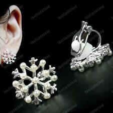 A Clip Bianco Panna Perla Snowflake Orecchini Silver Plated comode Clips