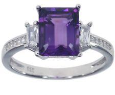 Amethyst Gemstone Sparkling Baguette Sterling Silver Ring