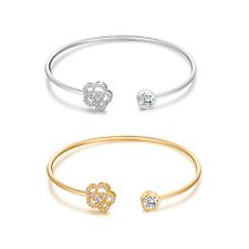 Buyless Fashion Girls Flower Bangle Bracelet Jewelry With White Stones