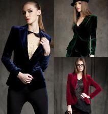 Europe Women's Slim Fit Short OL Velvet Blazer Jacket Career Blouses Spring Coat