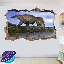 Jurassic Dinosaurio Trex reptil 3D Pared Adhesivo Decoración de habitación destrozada Calcomanía Mural Yi