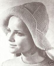 Vintage Crochet PATTERN to make Womens Floppy Rain Hat Slouch Brim RainHat