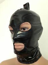 Shinny Black PVC zentai wrestling full head pony tail hood size S-XXL