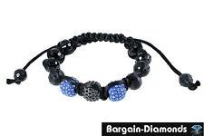 shamballa 12.5 mm blue + black disco balls black crystals black macrame hip hop