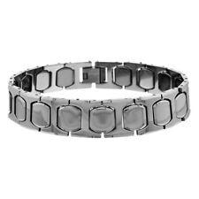 Men Women 13MM Tungsten CarbideCushion & H Shaped Link Magnetic Bracelet