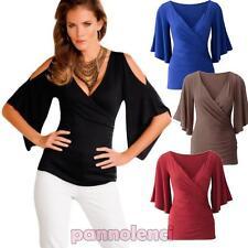 Top maglia donna maglietta maniche aperte portafoglio aderente nuovo DL-1963