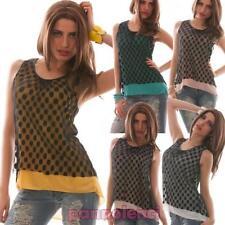 Pull femme t-shirt débardeur pois asymétrique Perforé voilé neuf CC-819