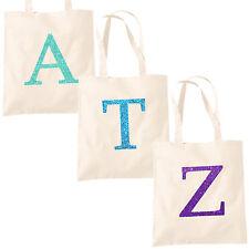 Single Letter GLITTER Printed Natural Tote Bag - Alphabet A-Z Initial Shopper