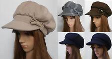 New Women Ladies Baker Boy 100% Wool Bow Ballonmütze Schirmmütze Beanie Hat Cap